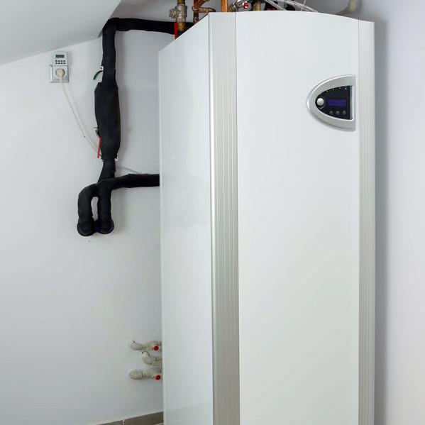 A newly installed heat pump.