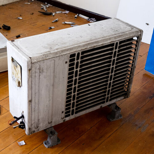Broken air conditioning unit.