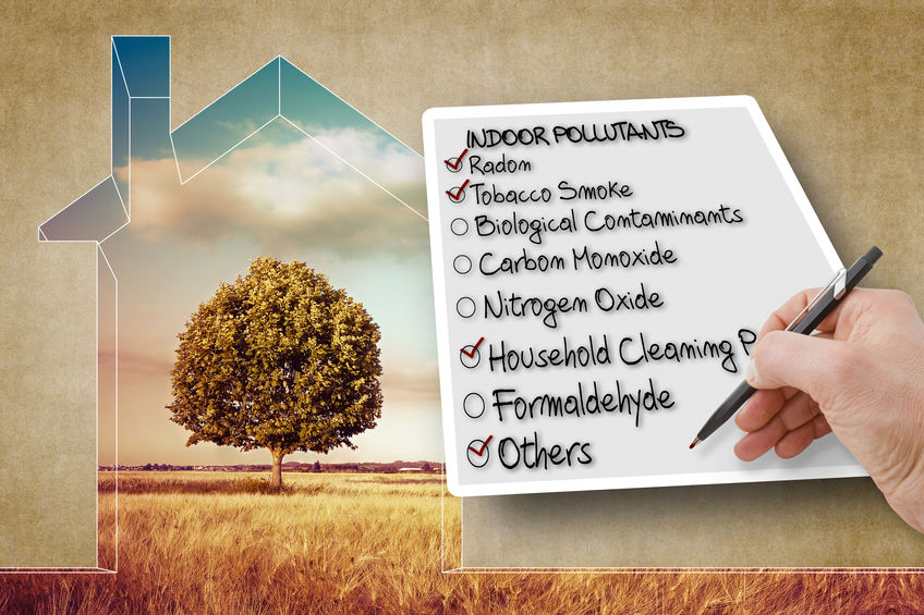 Hand write a check list of the most common dangerous domestic pollutants we can find in our homes - concept image